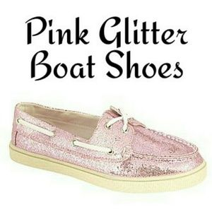 Pink Glitter Boating Shoes